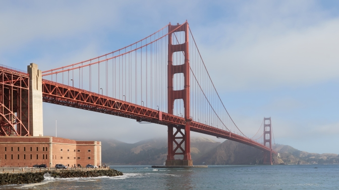 The Golden Gate Bridge as seen from Fort Point