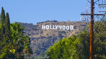 The world-famous Hollywood sign in the Hollywood Hills in Los Angeles.